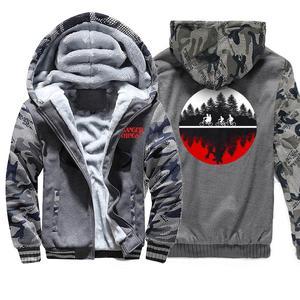 Image 4 - Grube bluzy mężczyźni Stranger Things Streetwear kurtka mężczyzna bluza z kapturem 2019 jesień zima ciepły płaszcz Hip Hop mężczyzna bluza z kapturem kurtki