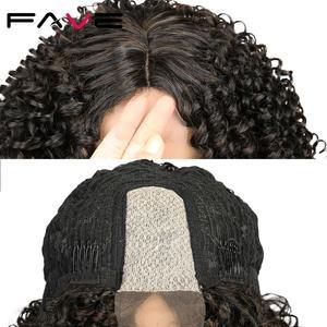 Image 5 - Fave Kinky Krullend Lace Pruiken Zwart Bruin Ombre Midden Deel Schouder Lengte Synthetisch Haar Hittebestendige Vezel Voor Zwarte Vrouwen
