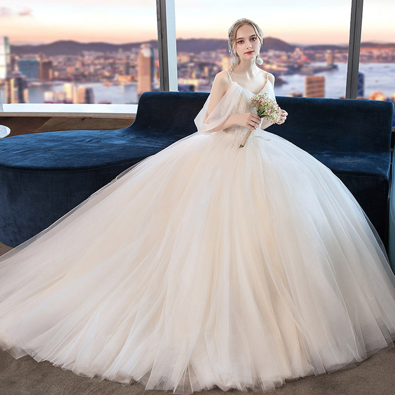 New Charming robe de marie Spaghetti Straps Wedding Dresses 2019 Simple Boat Neck Lace Up Princess Bridal Gown Plus Sizes