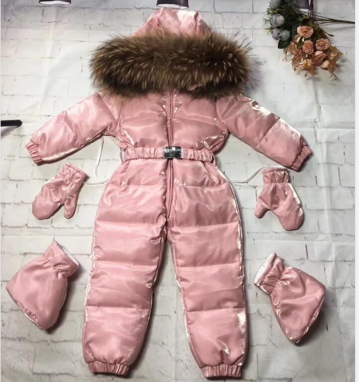Vraie fourrure à capuche 2019 hiver veste enfant vestes enfants combinaison neige costume fille floral ensemble bas barboteuse ski costumes survêtement