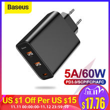 Baseus 3 Poorten Usb Charger Met PD3.0 Fast Charger Voor Iphone 11 Pro Max Xr 60W Quick Charge 4.0 fcp Scp Voor Redmi Note 7 Xiaomi