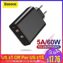 Baseus 3 порта USB зарядное устройство с PD3.0 быстрое зарядное устройство для iPhone 11 Pro Max Xr 60 Вт Быстрая зарядка 4,0 FCP SCP для Redmi Note 7 Xiaomi