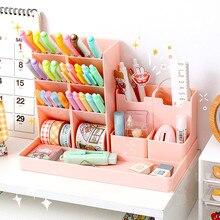 5Pcs/Set Multifunctional 4 Grid Pen Holder Desktop Organizer Large Capacity Makeup Plastic Storage Box Pencil Stand Free Sticker