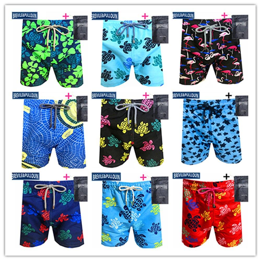 100% High Quality Mens Swimsuit 2020 Brand Brevile Pullquin Beach Boardshorts Skull Male Swimwear Turtles Swimtrunks + Gifts Bag