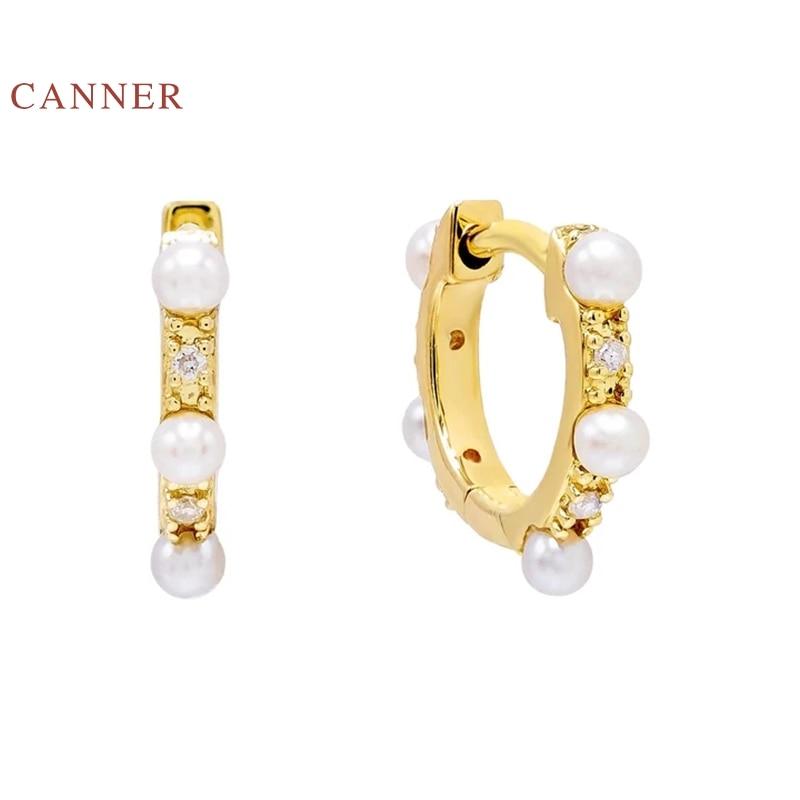 EINDOSER Perle Diamant Persönlichkeit Ohrringe Hoops 100% 925 Sterling Silber Zirkon Ohrringe Für Frauen Schmuck Aretes De Mujer