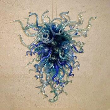 Modern kobalt koyu mavi gölge avize yüksek son LED asılı lambalar Murano kolye ev için Modern ışıklar