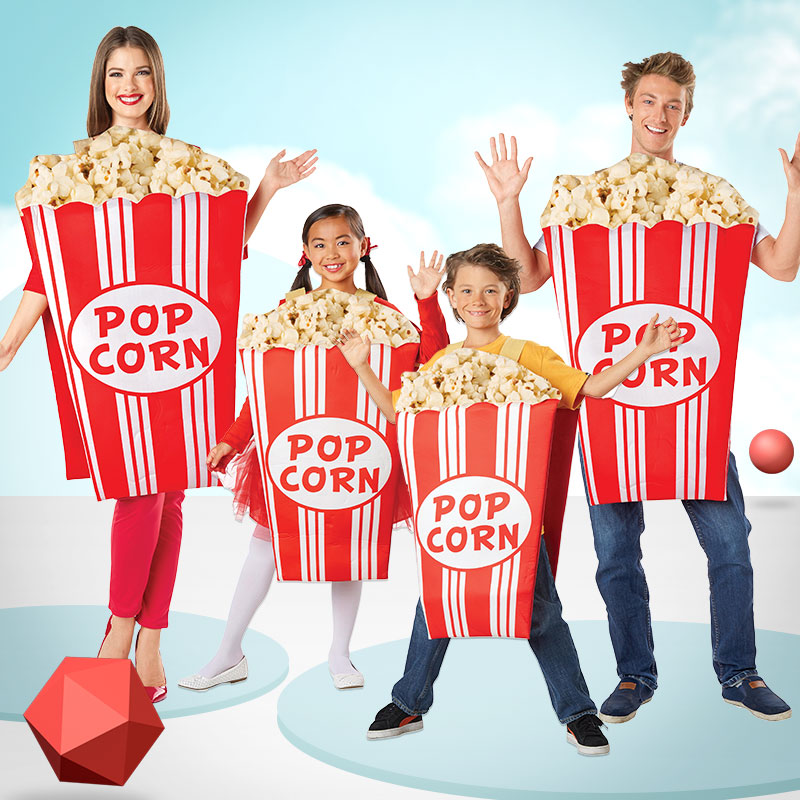 Eraspooky 3D Funny Popcorn Costumes For Adult Carnival Party Food Cosplay 2019 Halloween Group Fancy Dress Adult Women DN4287-1