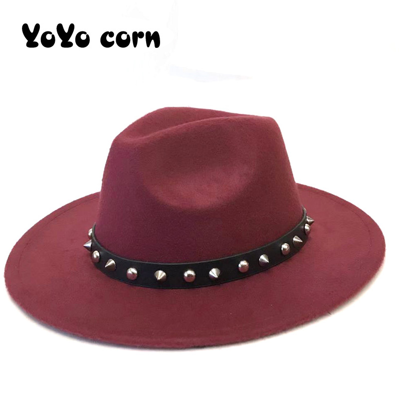 Black Belt Rhinestone Women Men Wool Vintage Gangster Trilby Felt Fedora Hat With Wide Brim Gentleman Elegant Lady Belt Jazz Cap