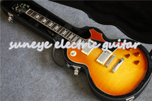 High Quality China Suneye Electric Guitar Boston Sunset Fade Tiger Flame Finish Guitarra Electrica With Black Case