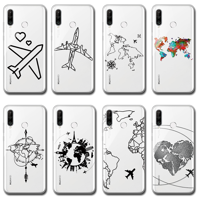 World Map Pattern Case For <font><b>Huawei</b></font> Nova 5t 5 5i 3 3i 4 6 se Mate 9 10 20 30 Lite Y5 <font><b>Y6</b></font> Y7 Pro Y9 Prime <font><b>2019</b></font> 2018 TPU Fundas Cover image