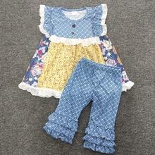 2020 Summer Kids Boutique Cotton Clothing Flowers Print Top