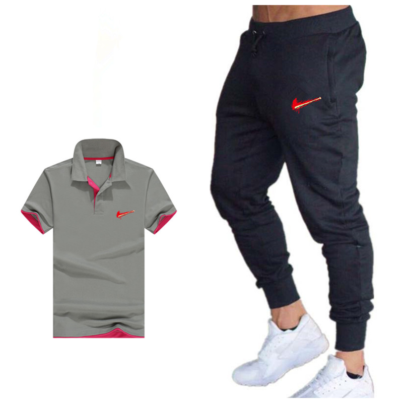 Summer Classic Cotton Comfortable Casual Polo Men's Clothing + Fitness Casual Trousers Sportswear Two-piece Sportswear Men's Sui