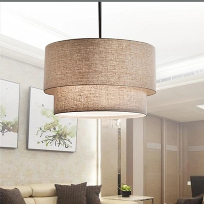 Modern Flax Fabric Lampshade LED Pendant Lamp,Dia 40/50/60CM Led Hanging Lights For Foyer Finning Room Hotel Lighting Fixture