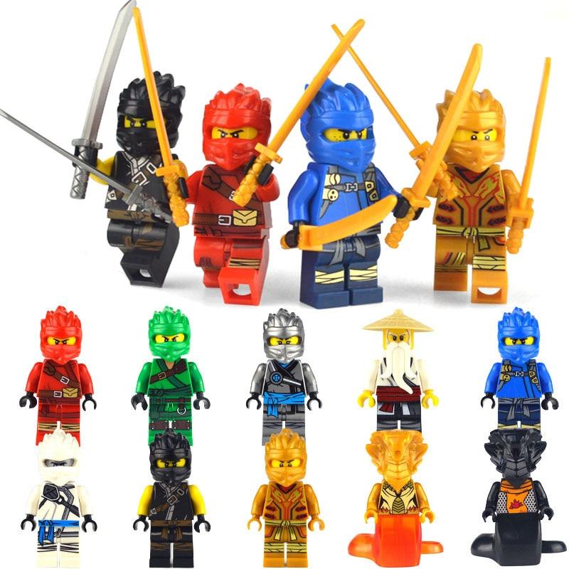 10pcs  Ninja Kai Cole Jay Zane Lloyd Nya Mini Action Figures Building Blocks Kids Toy Gift LegoINGly Ninjagoed For Children Gift