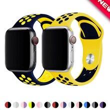 Спортивный ремешок для часов для apple watch группа 4 5 44 мм 40 мм, 42 мм, 38 мм, версия наручных часов iwatch, браслет series 5/4/3/2/1 силиконовый ремешок для часов с резиновой лентой