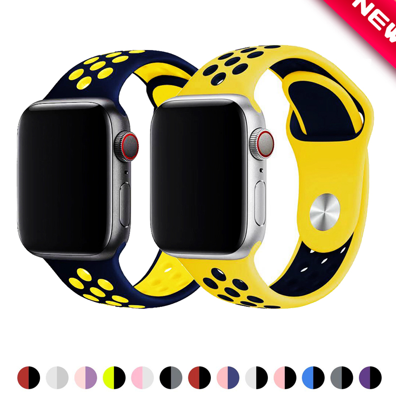 Sport Strap For Apple Watch Band 4 5 44mm 40mm 42mm 38mm Iwatch Bracelet Series 5/4/3/2/1 Silicone Watchband Rubber Belt