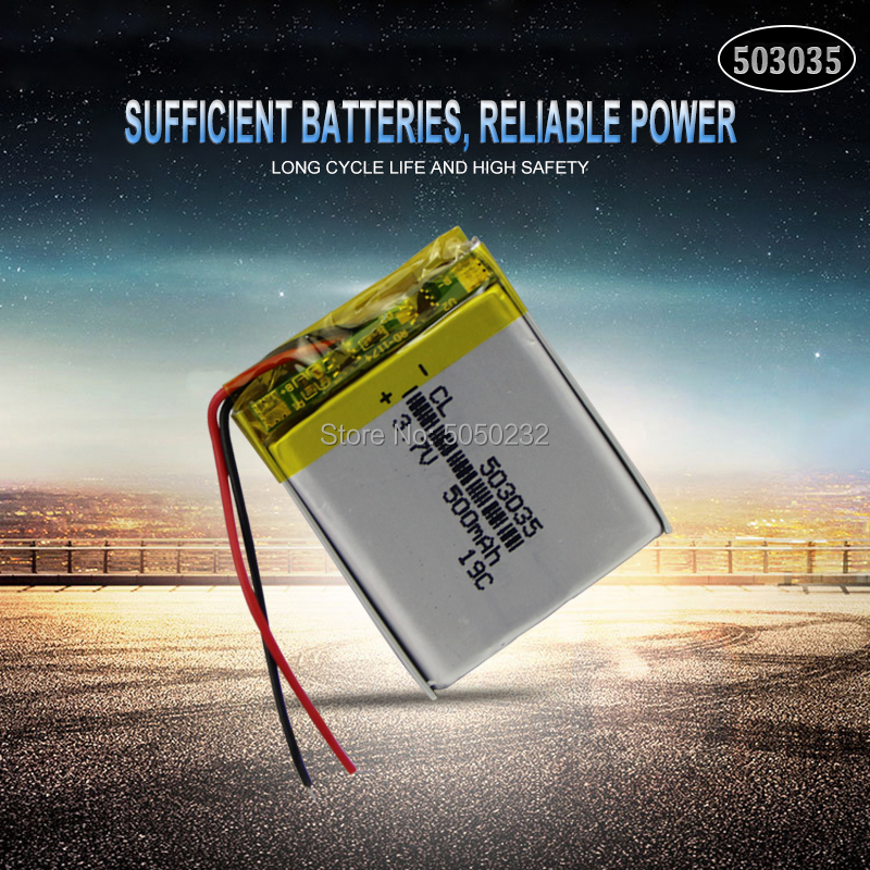 1pc <font><b>500mAh</b></font> <font><b>3.7V</b></font> <font><b>503035</b></font> lithium polymer lipo rechargeable <font><b>battery</b></font> for GPS MP3 MP4 DVD bluetooth headphone speaker Navigation phon image