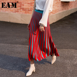 [EAM] High Elastic Waist Red Knitting Pleated Temperament Half-body Skirt Women Fashion Tide New Spring Autumn 2020 1H092