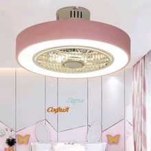50 cm Macaron Ceiling fan modern restaurant bedroom ceiling with light 220V remote control dimming decora lovely lamp