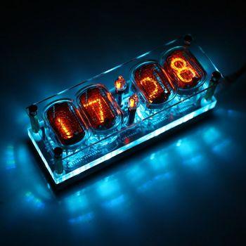 IN-12 Glow Tube Clock 4-Bit DS3231 IN12 Nixie Tube Clock Steampunk Decor Gift with Multicolor RGB LED Backlight elekstube programmable 6 bit rgb glow digital clock nixie tube clock kit diy electronic retro desk clock 5v micro usb powered