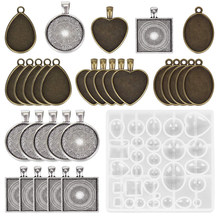 31pcs/set 5 Styles DIY Crafting Resin Heart Gift Jewelry Casting Mold Oval Round Making Pendant Trays Square Silicone Teardrop(China)