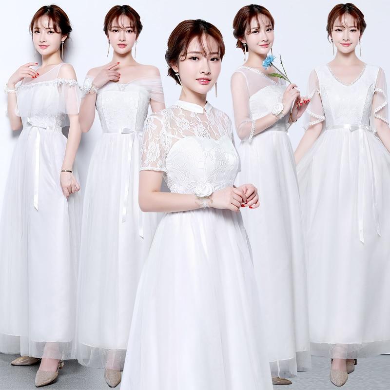 Vestido Azul Marino Tulle Bridesmaids Dresses Elegant V-neck Elegant Dress Women For Wedding Party White Sexy Prom Dress Sister