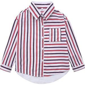 Image 5 - 2020 çizgili gömlek kızlar için sonbahar okul bluz pamuk mavi kırmızı şerit elbise için yürümeye başlayan bebek 9 ila 10 yıl kızlar güz