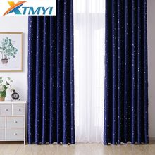 Shiny Stars Children Cloth Curtains For Bedroom Living Room Blue Blackout Curtain Custom Made shading modern(China)