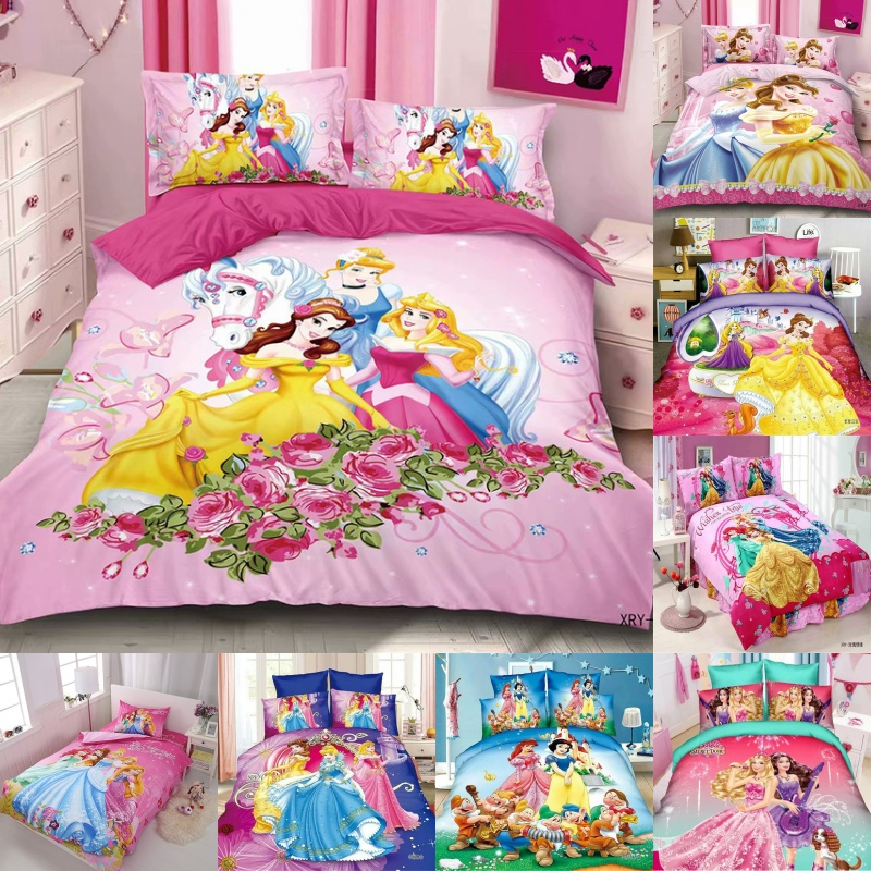 Disney  Cinderella Bella 3 Princess Rapunzel Girls Bedding Sets Kids Duvet Cover Bed Sheet Pillowcase Children Present