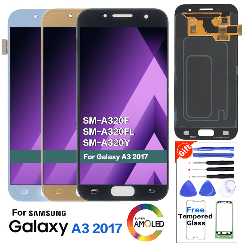 <font><b>AMOLED</b></font> For SAMSUNG Galaxy A3 2017 <font><b>A320</b></font> SM-A320F LCD Display Screen replacement for Samsung SM-A320FL A320Y display lcd module image
