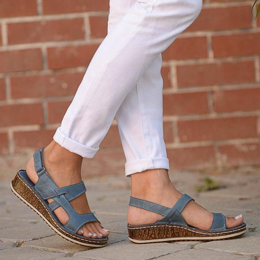 Summer Women Sandals Gladiator Ladies Hollow Out Wedges Buckle Platform Casual Shoes Female Soft Beach Shoes Zapatos De Mujer