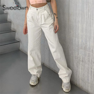 Sweetown Korean Fashion Style White Straight Pants For Women Casual High Waist Basic Loose Female Trousers 2020 Fall Streetwear