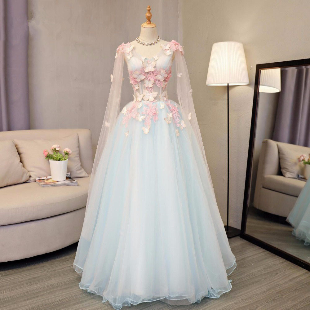 Pretty Sky Blue Butterfly Tulle Prom Dresses 2020 With Full Sleeves Floral Prom Gowns Plus Size Retro Formal Party Dress
