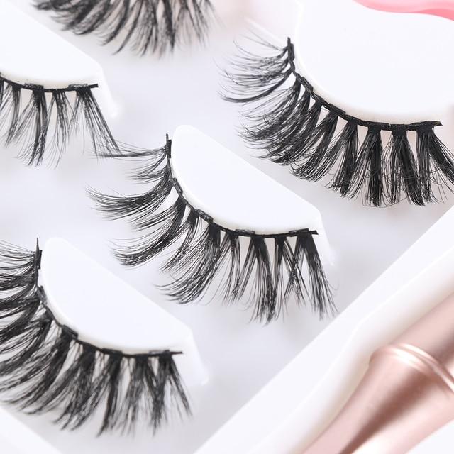 3 Pairs Magnetic Eyelashes With 1Pc Magnetic Eyeliner and Eyelashes Tweezer 6