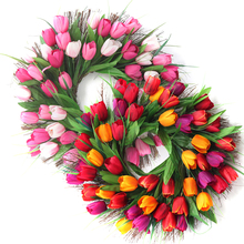 Party Wedding Decoration WreathTulip Wreath Front Door  Artificial Flower Wall Ornaments Home Decorations