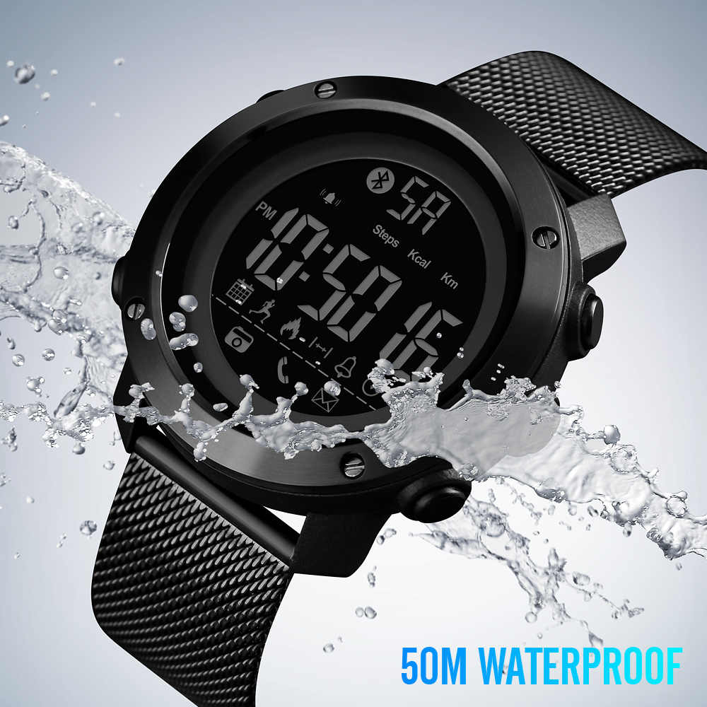 SKMEI Sport Smart Watch Men Calories Pedometer Bluetooth Watches Milanese Strap Calorie Waterproof Smart Digital Watch 1462