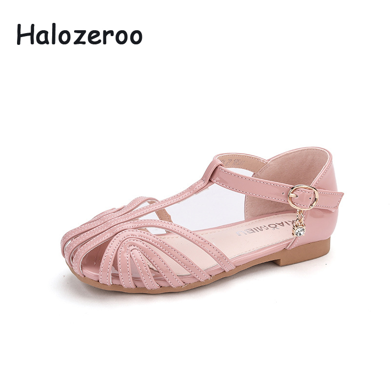 2020 Summer Kids Princess Sandals Baby Girls Pu Leather Sandals Children Closed Toe Shoes Fashion Beach Sandals Brand Soft Flats