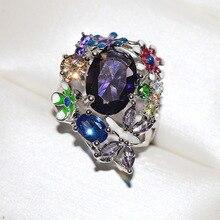 Серебряный цветок бабочки милый камень циркония кольцо из эпоксидной смолы для женщин Свадебная Модная бижутерия для помолвки 925 серебро