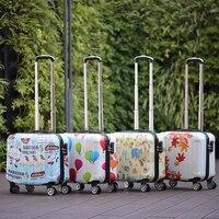 Cartoon Kabine koffer mit rädern reise trolley gepäck tasche 18'' tragen auf koffer set kinder student gepäck Niedlich roll tasche