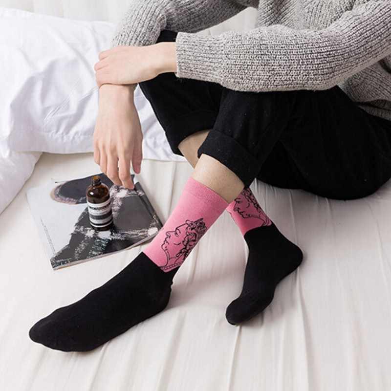 Calcetines casuales hombre arte estampado algodón transpirable medias calzado accesorios personaje diseño Presidente pintura al óleo estilo