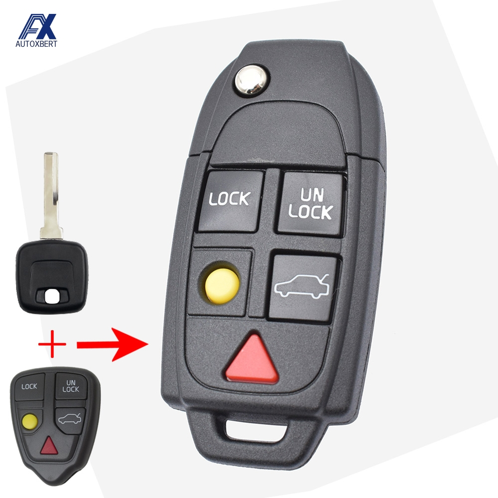 Modified Car Remote Key Shell Case For Volvo XC70 XC90 V50 V70 S40 V40 V90 C70 S60 S80 S70 Replacement Case 5 Button