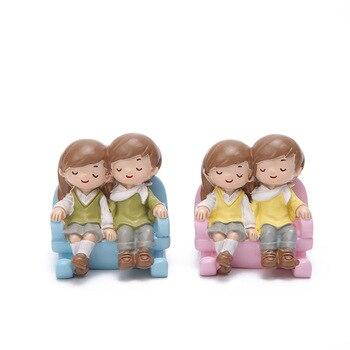 Figuras familiares de escritorio muñeca niños parejas regalo para Amiga decoraciones nórdicas casa Accesorios modernos de resina Hogar Decoración AE50BJ