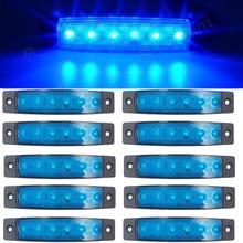 цена на 10pcs Blue 12V 6 SMD LED Auto Car Bus Truck Lorry Marker Indicator low Led Trailer Light Rear Side Lamp