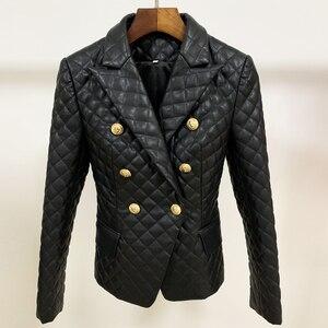 Image 4 - Chaqueta de cuero sintético ajustada con botones de León para mujer, chaqueta femenina de alta calidad, con relleno de algodón, 2020