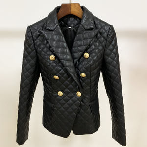 Image 4 - HIGH QUALITY 2020 New Stylish Designer Blazer Womens Lion Buttons Grid Cotton Padded Slim Fitting Synthetic Leather Jacket