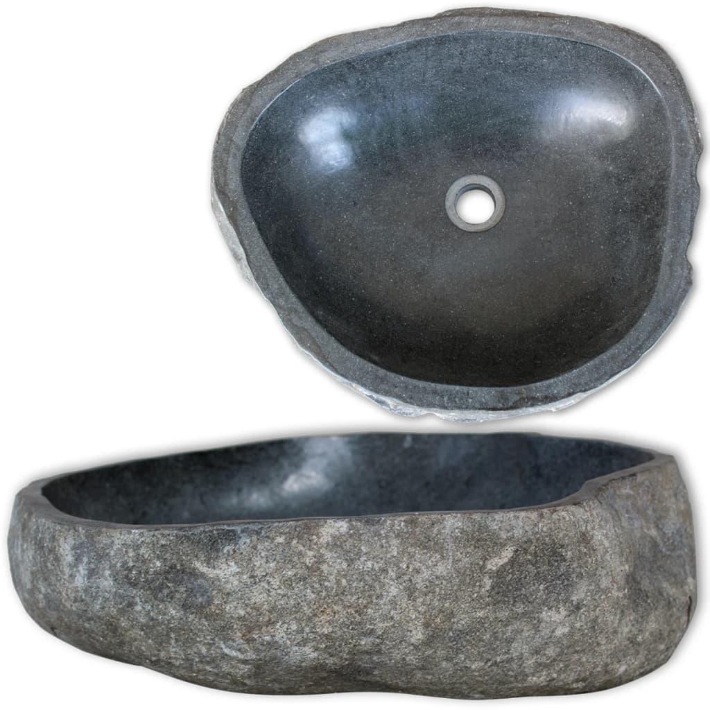 Unique pierre naturelle bassin rivière pierre ovale salle de bain évier lavabo lisse Surface intérieure bain laiton ensemble salle de bain accessoires
