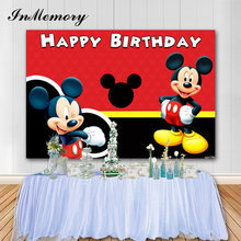 InMemory 7x5FT Vinyl Mickey Mouse Party Backdrop For Photo Red Birthday Theme Custom Children Newborn Photography Backgrounds(China)
