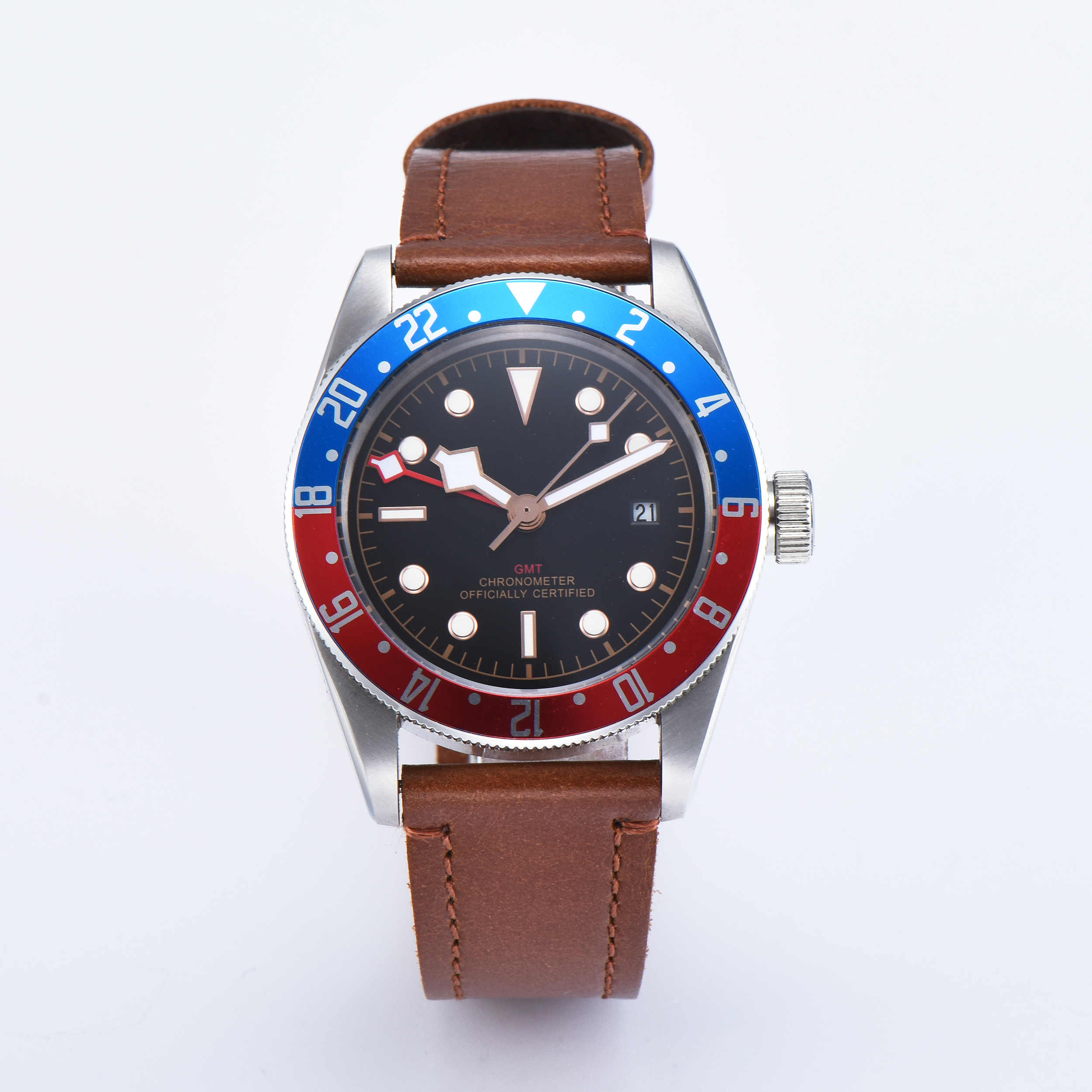 Corgeut 41mm GMT Watch Black Dial Bay Black&Red Bezel Leather Mechanical Automatic men Watches