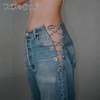 TWOTWINSTYLE Sexy Voller Länge Hosen Hohe Wiast Patchwork Ketten Hit Farbe Gerade Vintage Jeans Für Weibliche Kleidung Mode Neue