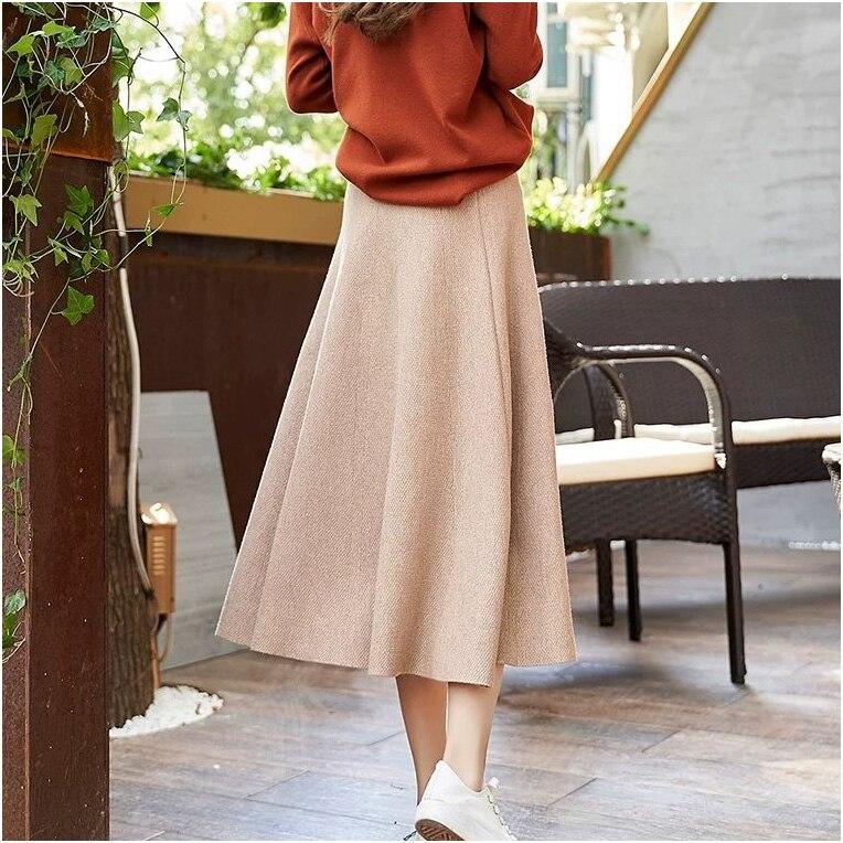 Винтажный осенне-зимний женский толстый свитер с зонтиком, юбка с высокой талией, трикотажная юбка средней длины, трапециевидная Женская однотонная элегантная юбка